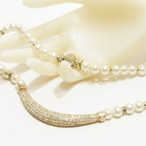 Vintage Dior Faux Pearl and Rhinestone Necklace